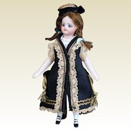 "Black silk overcoat for 5"" mignonette doll"