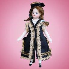 """Black silk overcoat for 5"""" mignonette doll"""