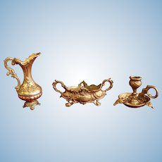 French antique gilt miniatures for doll house - Circa 1900