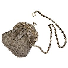 Small sterling silver mesh purse with chatelaine - French Art Nouveau Circa 1900