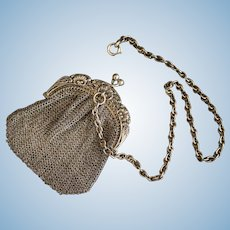 Small sterling silver mesh purse with chatelaine - For French Antique doll