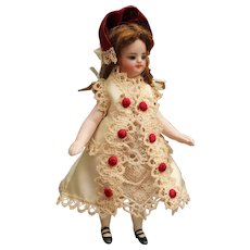Antique silk dress and hat for all bisque doll - French Mignonette