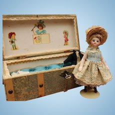 "French all bisque Mignonette doll in presentation trunk ""La Samaritaine"" - Circa 1880"