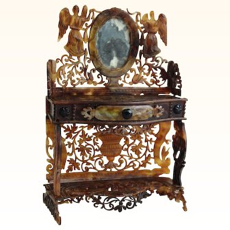 Tortoiseshell dressing table for mignonette doll - Antique French furniture of mastery circa 1880