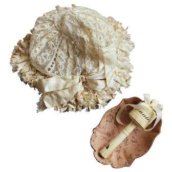 Original factory bebe Jumeau doll - Lace bonnet with baby rattle