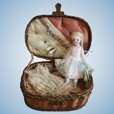"""""""On Hold For K"""" - Early French all bisque mignonette doll with grey boots - Circa 1880"""