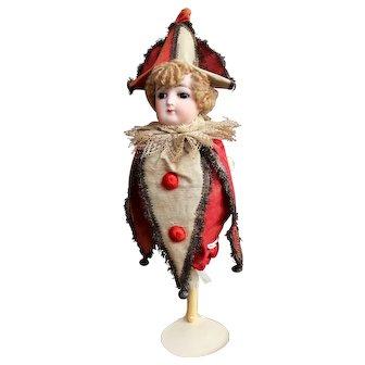 François Gaultier Polichinelle musical marotte bisque doll - Circa 1880