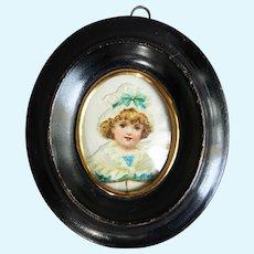 Rare antique miniature frame in blackened wood - Circa 1870