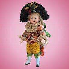 Rare antique all bisque mignonette doll - Simon & Halbig - Original condition
