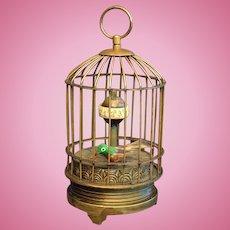 Antique brass bird cage clock automaton - Petite size! - Circa 1880