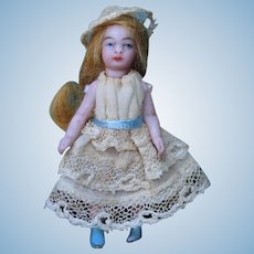 "Miniature sfbj lilliputian doll - 2 1/2"" French all bisque doll - Circa 1905"