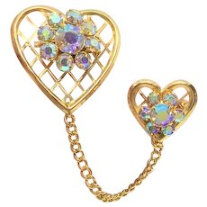Vintage Hearts Chateline Brooch Pin