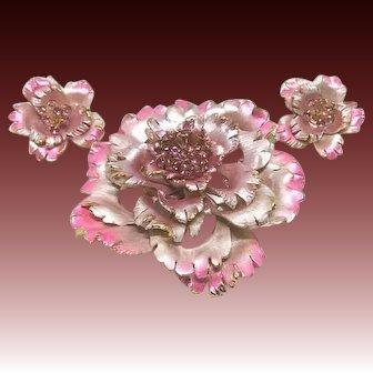 Vintage PARK LANE Enamel Rhinestone Flower Brooch Pin Set