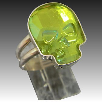 Handcrafted Sterling Silver Skull Ring made with a Swarovski Crystal