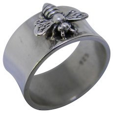 Handcrafted Wideband Sterling Silver Honeybee Ring