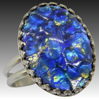 Handcrafted Faux Opal Cabachon Sterling Silver Ring