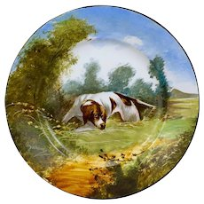 French Antique Luneville Pottery Dog Wall Plate Signed Anguerranol