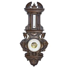Antique French Black Forest Wood Barometer Thermometer with Griffin