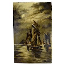 French Night Seascape Sailboats Oil Painting Signed