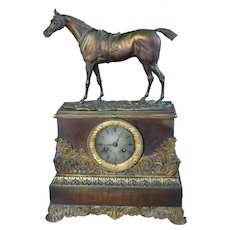French Antique Empire Bronze Mantle Clock with Horse and Fabrege Movement