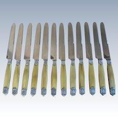 French Sterling Silver & Horn Handle 12 Dinner Knife Set