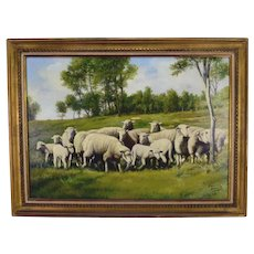 French Vintage Oil Painting on Canvas of Herd of Sheep Signed Carlos Alberto and Framed