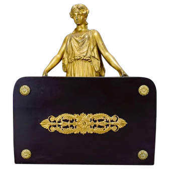 French Antique Neoclassical Figural Letter Holder with a Lady