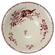 French Antique Sarreguemines Red Favori Birds Salad Bowl