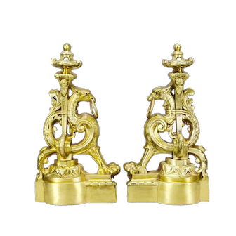French Antique Victorian Ormolu Bronze Griffin Andirons or Bookends