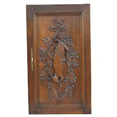 French Antique Black Forest Wood Rabbit Hunt Door Panel