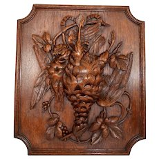 French Black Forest Hand Carved Wood Wall Panel, Game Bird Carving Wall Plaque
