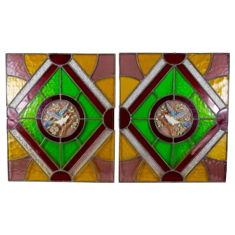 French Antique Pair of Stained Glass Window Panels with Enamelled Bird