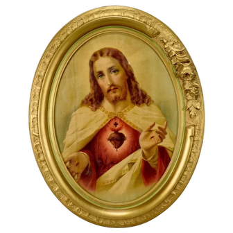 French Vintage The Sacred Heart of Jesus Wall Frame