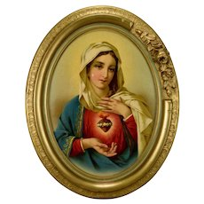 French The Sacred Heart of Virgin Mary Oval Gilt Wall Frame