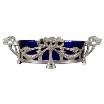 Art Nouveau French Cobalt Blue Glass and Silver Spelter Jardiniere or Centerpiece