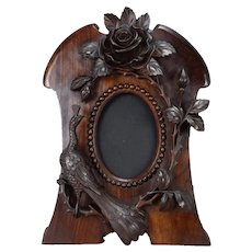 French Black Forest Art Nouveau Carved Wood Photo Frame with a Peacock