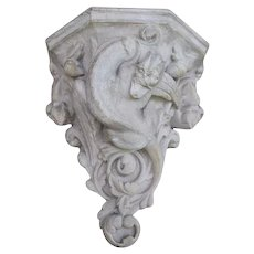 French 19th.C Hand Carved Stone Griffin Wall Shelf