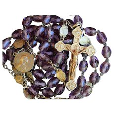 French Art Nouveau Gold & Purple Glass Beads Rosary