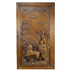 French Large Hand Carved Walnut Wood Door