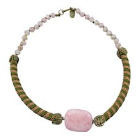 Vintage Miriam Haskell Cord and Art Glass Bead Choker,signed