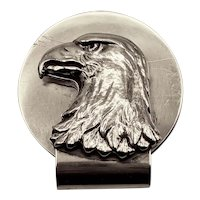 Rare Sterling Silver Tiffany Eagle head Money Clip, signed