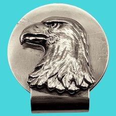 Rare Sterling Silver Tiffany Eagle head Money Clip, signed