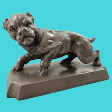 James W. Tufts Triple Silverplate Dog Paperweight