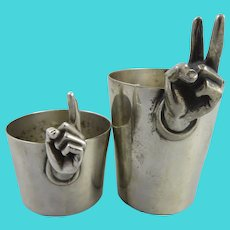 Napier Silver Plated One and Two Finger Jiggers