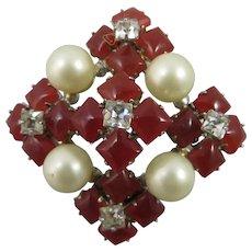 Vintage Mimi Di N Rhinestone,Glass,Faux Pearl Brooch