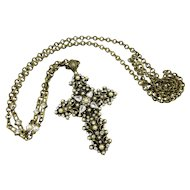 Glorious Sweet Romance Rhinestone and Faux Pearl Cross and Chain