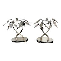 Pair of Hollywood Regency style Silver Plated Palm Tree Candelabra