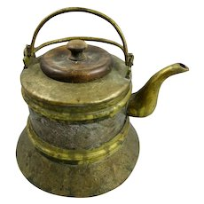 Vintage Copper and Brass Chinese Teapot
