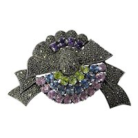Vintage Sterling Silver Marcasite and Crystal brooch