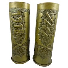 Vintage Trench Art WW1 Cannon shell Vases, 1914-18